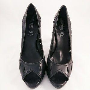 Cathy Jean Brazil Open Toe Black Platform Shoe